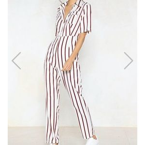 Striped utility jumpsuit NWT